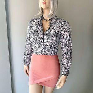 Rock & Republic Floral Print Button Down Shirt M